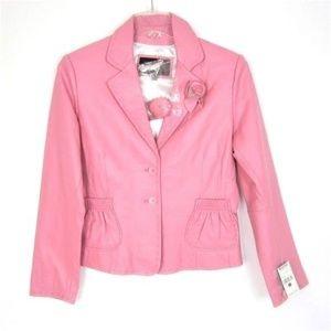Wilsons Leather Pink Blazer Jacket Coat L 10 NEW